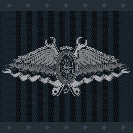 Motorbike wheel between wings, ribbons and crossed wrench. Vintage motorcycle design on blackboard