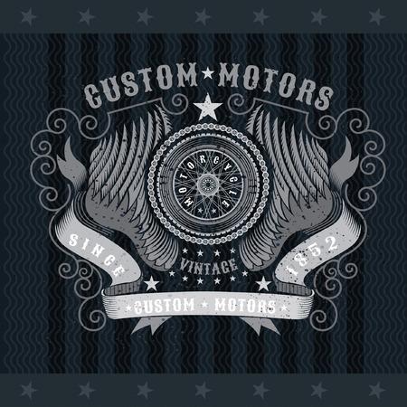 Motorbike wheel in center of chain between pair of wings and ribbons. Vintage motorcycle design on blackboard