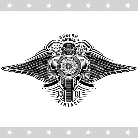 Motorbike with wheel in side view between skulls and wings. Vintage motorcycle design isoalated on white Illustration