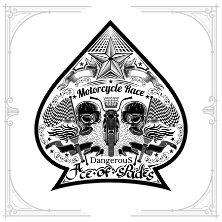 Motorbike front view between two skulls flags and torch nside ace of spades form. Vintage motorcycle design playing card or t t-shirt element black on white