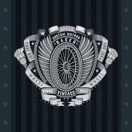 Motorbike wheel side view between wings, ribbons and chain. Vintage motorcycle design on blackboard Иллюстрация