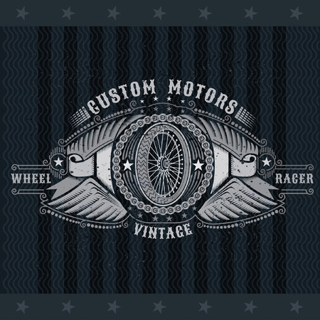 Motorbike wheel side view in center of chain between two pair of wings and ribbons. Vintage motorcycle design on blackboard