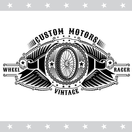 Motorbike wheel side view in center of chain between two pair of wings and ribbons. Vintage motorcycle design isolated on white Ilustração
