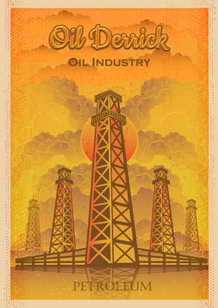 Oil industry, oil derricks on sky background vector vintage illustration. Retro poster style