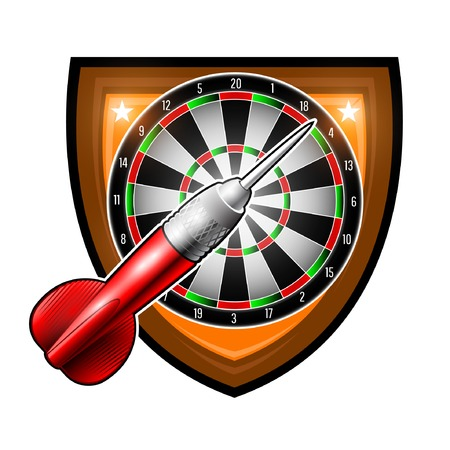 One red darts with round target in center of shield isolated on white. Sport logo for any darts game or championship Vectores