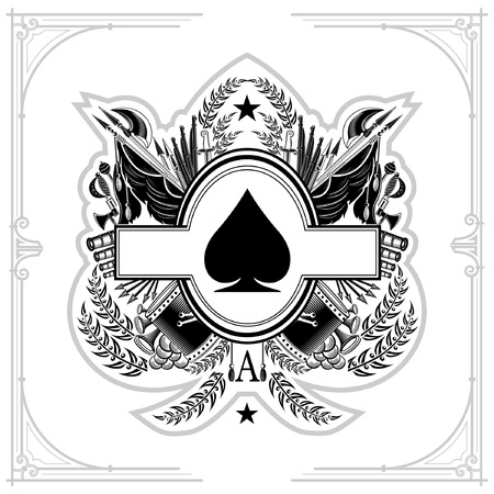 Oval frame in center of vintage weapon and military elements inside of ace of spades form. Military design playing card element black on white Ilustração