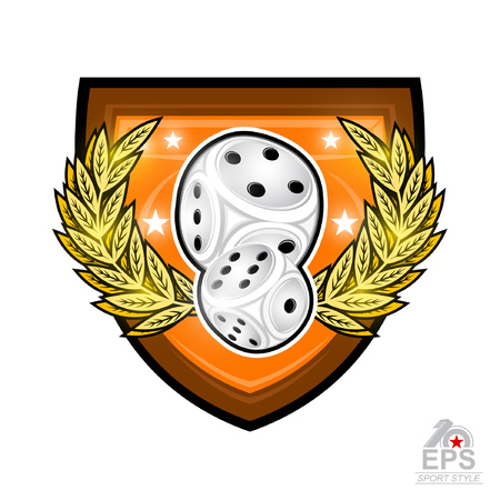 Pair of dice with golden wreath in center of shield isolated on white. Sport logo for any games of chance or board games Ilustração