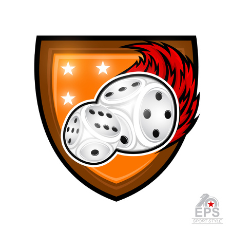 Pair of dice with red fire trail in center of shield. Sport logo for any games of chance or board games isolated on white Çizim