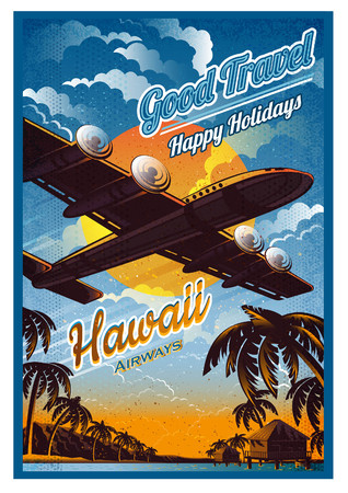 Plane fly over the tropical island with palms and bungalow, in sunset, against the sun, view from the bottom. Vector vintage illustration hawaii retro poster style Ilustração
