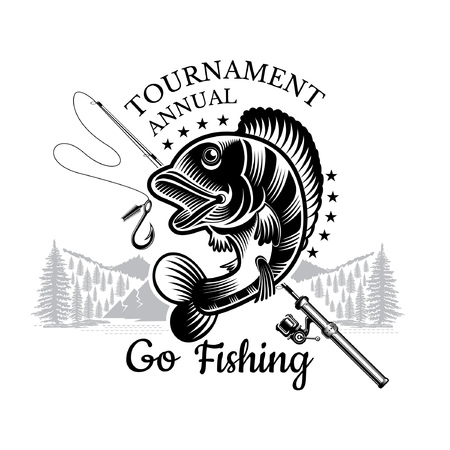 Perch fish bend with fishing rod and landscape backside in engrving style. Logo for fishing, championship and sport club on white