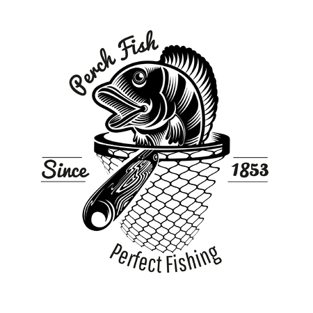 Perch head up from landing net in engraving style. Logo for fishing or fishing shop isolated on white