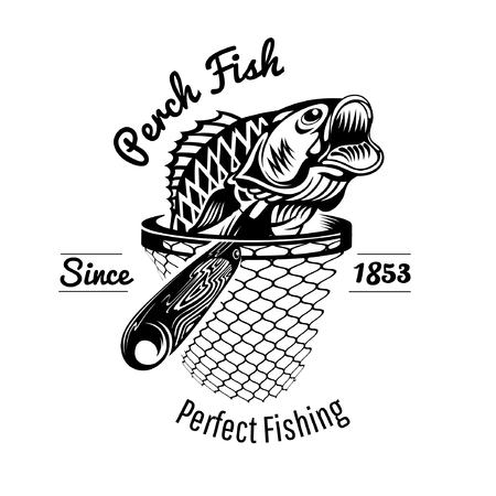 Perch head up from landing net in engraving style. Logo for fishing or fishing shop isolated on white Иллюстрация