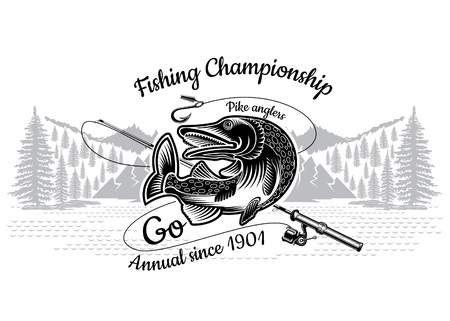 Pike fish bend with crossed fishing rod with landscape in engrving style. Logo for fishing, championship and sport club on white Logo
