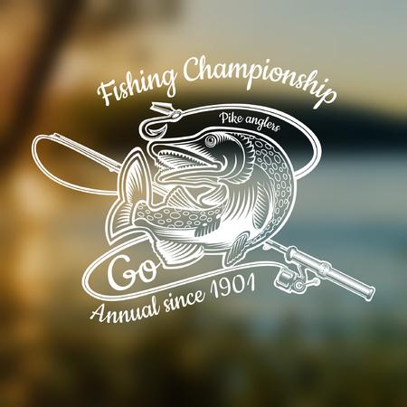 Zakręt szczupaka z wędką w stylu grawerowania na niewyraźne zdjęcie krajobrazu. Logo lub tło dla klubu wędkarskiego, mistrzostw i klubu sportowego