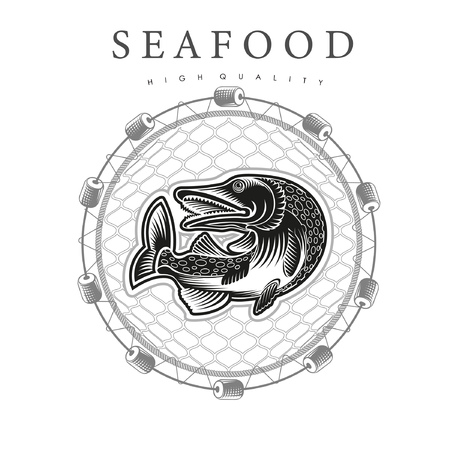 Pike in jump, in the center round fishing nets on white background. Logo for fish products or seafood in woodcut style