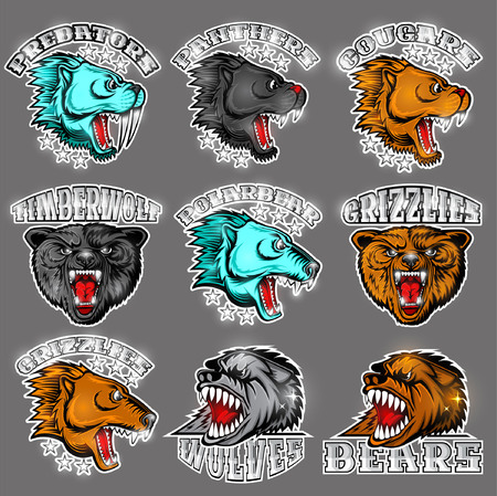 Beast face from the side and front view with bared teeth. Panther, cougar; bear, wolf, polarbear, grizzly, predator. Logo for any sport teams Illustration