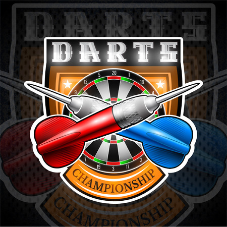 Red and blue darts crossed with round target in center of shield. Sport logo for any darts game or championship Vectores