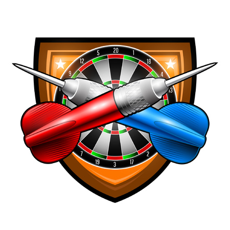 Red and blue darts crossed with round target in center of shield. Sport logo for any darts game or championship isolated on white Vectores