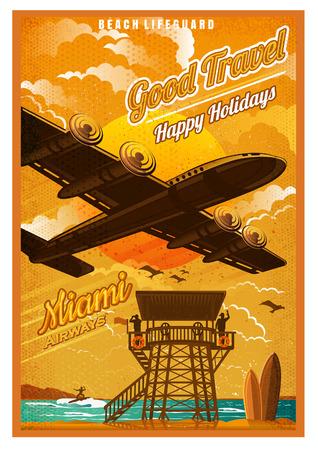 Un avion survole la plage avec une tour de sauvetage et une planche de surf, au coucher du soleil, contre le soleil, vue du bas. Vector illustration vintage style d'affiche rétro de Miami Vecteurs