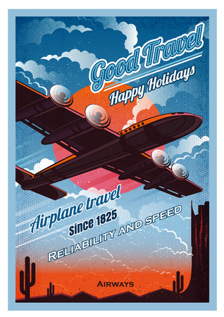 Plane fly over the desert ,in sunset, against the sun, view from the bottom. Vector vintage illustration retro poster style.
