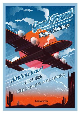 Un avion survole le désert, au coucher du soleil, contre le soleil, vue du bas. Style d'affiche rétro de vecteur illustration vintage. Vecteurs