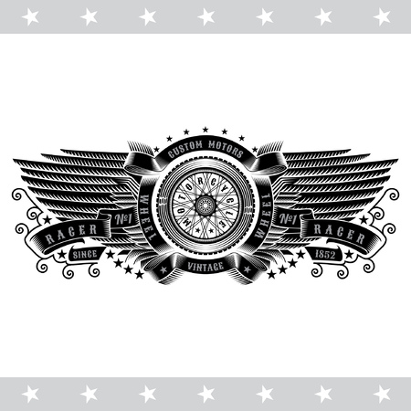 Motorbike wheel in center of ribbon round frame between wings. Vintage motorcycle design isolated on white