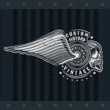 Motorbike wheel in side view with skulls and wing. Vintage motorcycle design on blackboard
