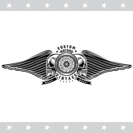 Motorbike wheel in side view between skulls and wings. Vintage motorcycle design isolated on white