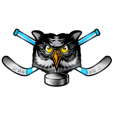 Owl head from the front view with crossed hockey stick. Logo for any sport team or club isolated on white