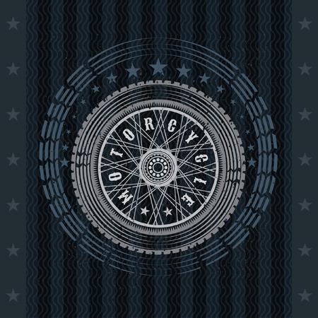 Motorbike wheel in side view with stars. Vintage motorcycle design on blackboard Иллюстрация