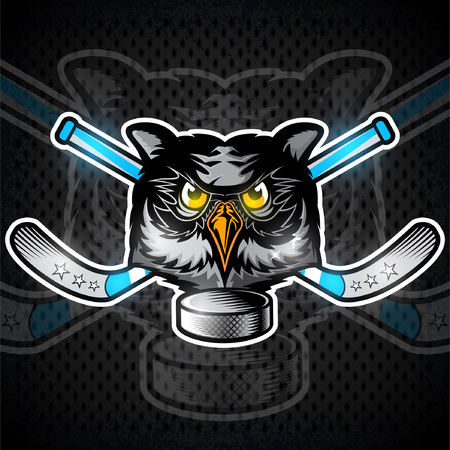 Owl head from the front view with crossed hockey stick. Logo for any sport team grizzly