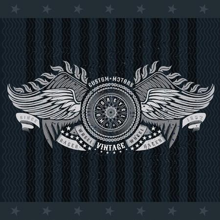 Motorbike wheel in center of chain between two pair of wings. Vintage motorcycle design on blackboard