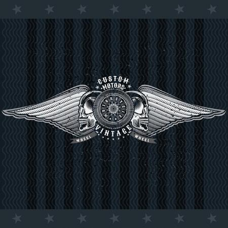 Motorbike wheel in side view between skulls and wings. Vintage motorcycle design on blackboard Иллюстрация