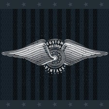 Motorbike wheel in side view between wings. Vintage motorcycle design on blackboard Stock Vector - 121504831
