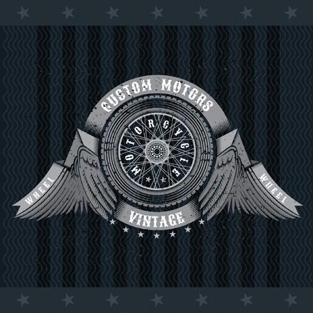 Motorbike wheel in side view between wings and ribbons. Vintage motorcycle design on blackboard Illustration