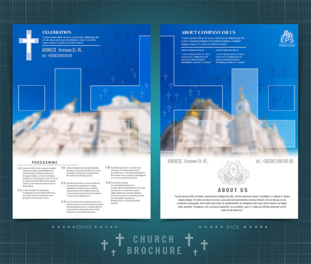 Religion two sided brochure or flyer template design with church building blurred photo and cross ellements. Mock-up cover in blue vector modern style