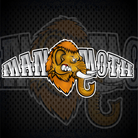 Mammoth head from the side view with bared teeth. Logo for any sport team