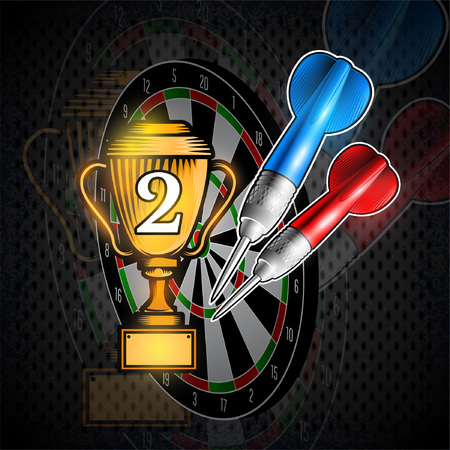 Red and blue darts with cup of second place on dartboard. Sport logo for any darts game or championship
