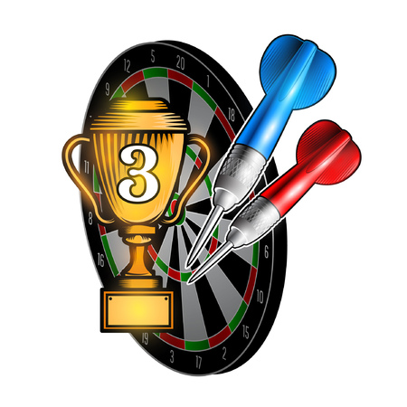 Red and blue darts with cup of third place on dartboard on white. Sport logo for any darts game or championship