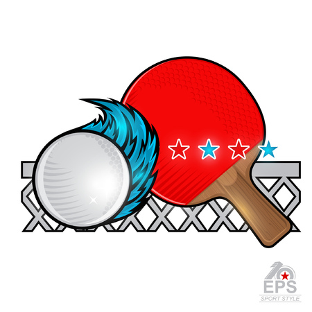 Red table tennis racket and ball with wind trail and net on white. Sport logo for any team or championship Illustration
