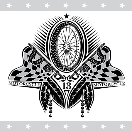 Motorbike wheel between crossed raced flags and indian feather. Vintage motorcycle design on white Stock Illustratie