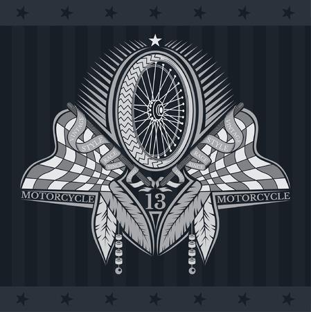 Motorbike wheel between crossed raced flags and indian feather. Vintage motorcycle design on blackboard Vettoriali