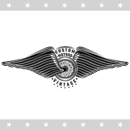 Motorbike wheel in side view between wings. Vintage motorcycle design isolated on white