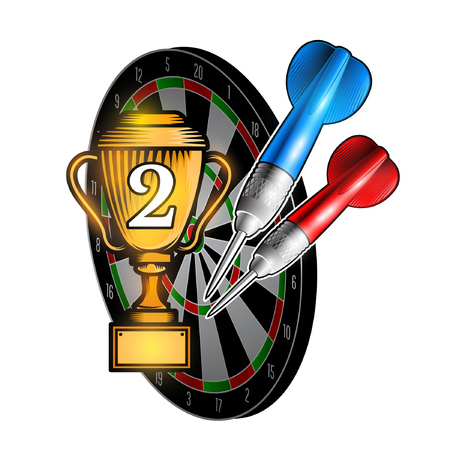 Red and blue darts with cup of second place on dartboard on white. Sport logo for any darts game or championship