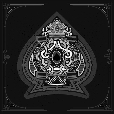 Round pattern shield with crown and vintage elements inside ace of spades form. Marine design playing card element white on black