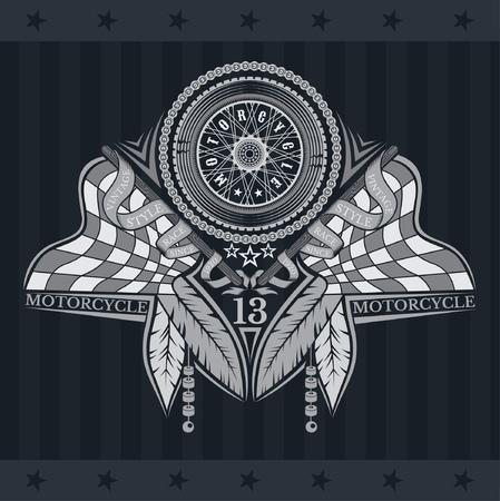 Motorbike wheel side view between crossed raced flags and indian feather. Vintage motorcycle design on blackboard