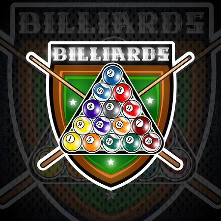 Pyramid of billiard balls with crossed cues in center of shield. Sport logo for any team or championship 免版税图像 - 121504783