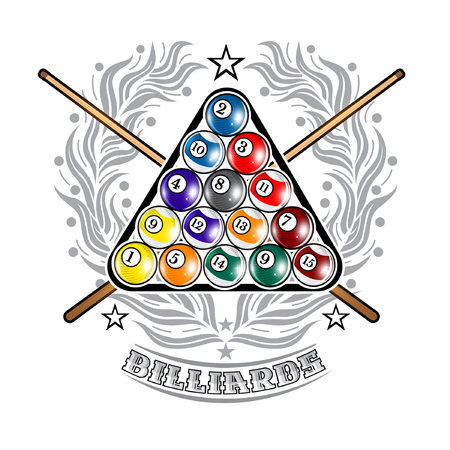 Pyramid of billiard balls with crossed cues in center of silver wreath. Sport logo for any darts game or championship