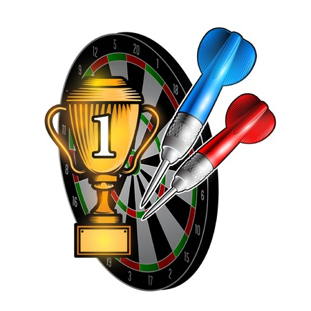 Red and blue darts on dartboard. Sport logo for any darts game or championship