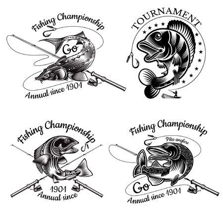 Set of fishing labels with Pike Sturgeon Salmon Perch fish bend with crossed fishing rod in engrving style. Logo for fishing, championship and sport club on white